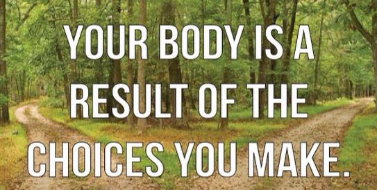 Your body is a result of the choices you make.