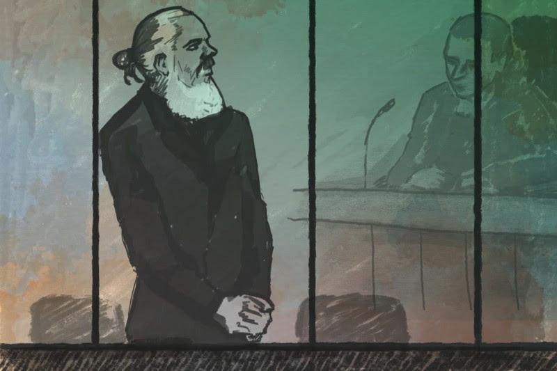 <p>Boceto del juicio de Julian Assange.</p>