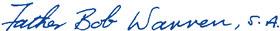 Fr. Robert Warren, S.A. Signature