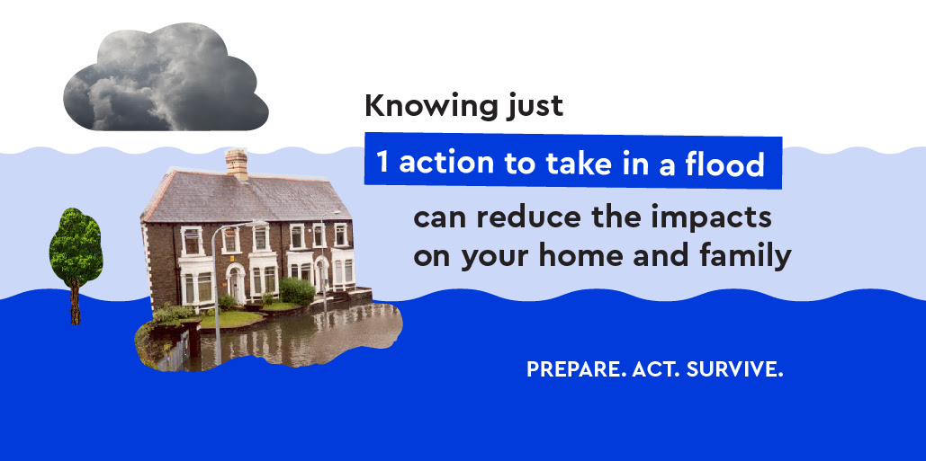Image with house, cloud and tree which says knowing one action to take in a flood can reduce the impact on your home and family