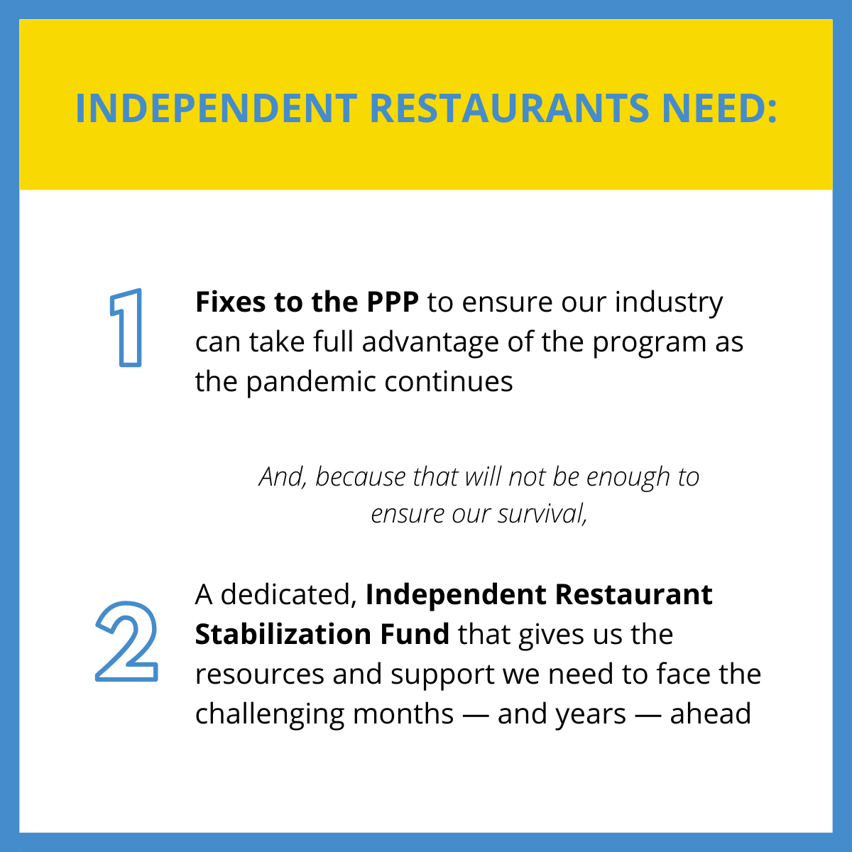 What independent restaurants need from Congress
