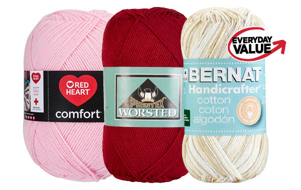 Bernat® Handicrafter® Big Ball, Phentex® Worsted & Red Heart Comfort® Yarns