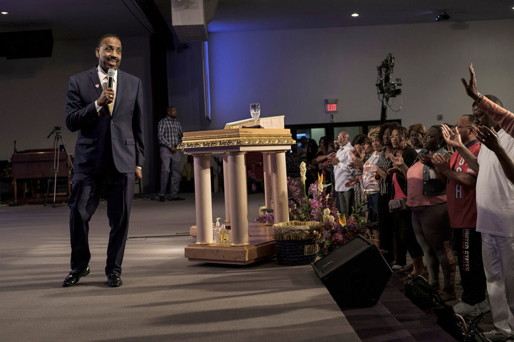 Bishop Wayne T. Jackson at Great Faith Ministries in Detroit on Tuesday. Bishop Jackson is scheduled to interview Donald J. Trump on Saturday.