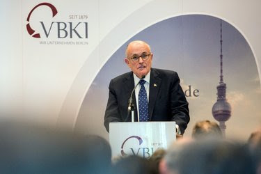 """Rudolph W. Giuliani in Germany last month. He said on Sunday that """"when you say black lives matter, that's inherently racist."""""""