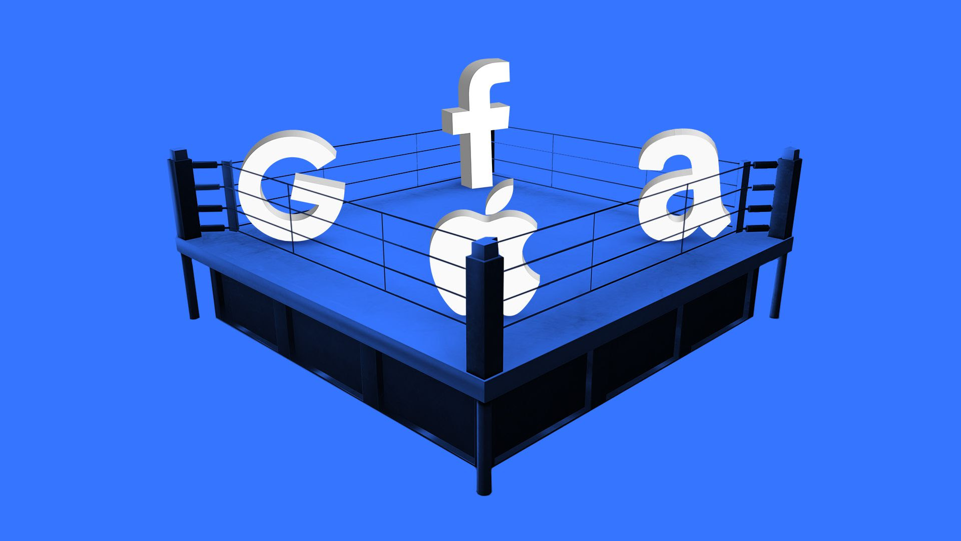 Illustration of tech logos in a boxing ring
