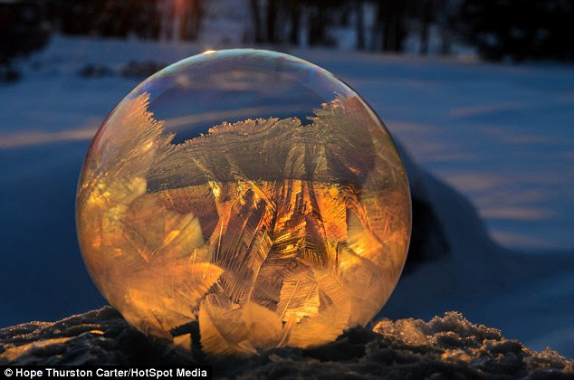 Golden: The play of                                                the light through the                                                frozen bubbles is one of                                                the most interesting                                                aspects of the shots