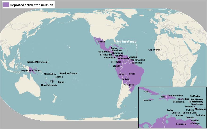 Zika active transmission map