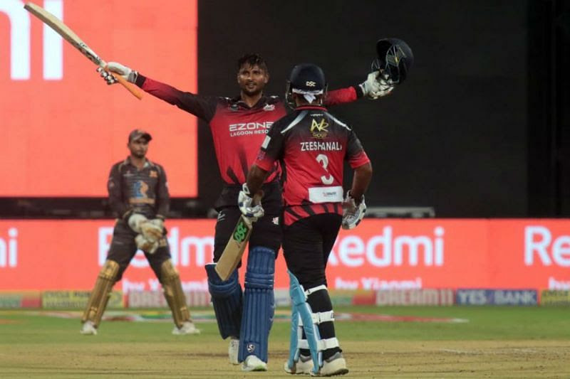 K Gowtham is pictured celebrating his century against the Shivamogga Lions
