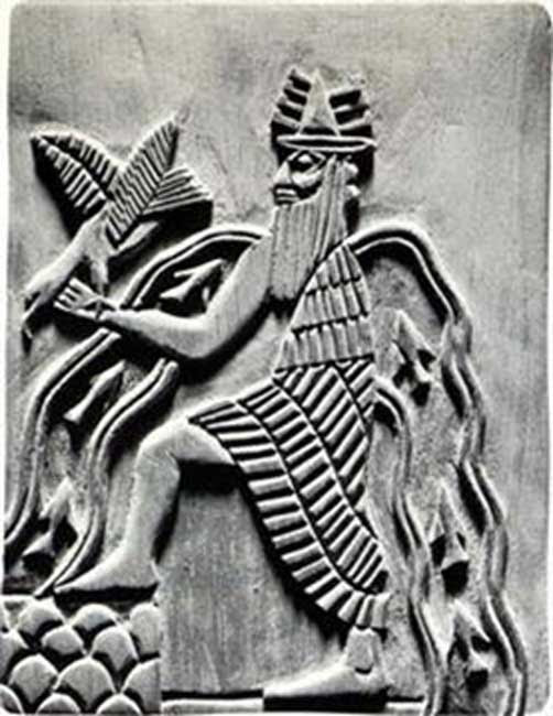 Image of the Sumerian god Enki. Modern reproduction of a detail of the Adda seal (c. 2300 BC). (Public Domain)