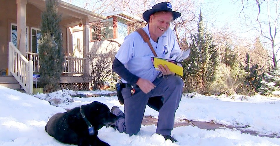 Mailman builds ramp for aging dog so they can continue their sweet daily greeting.