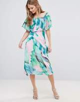 Every Cloud Palm Print Bardot Midi Dress