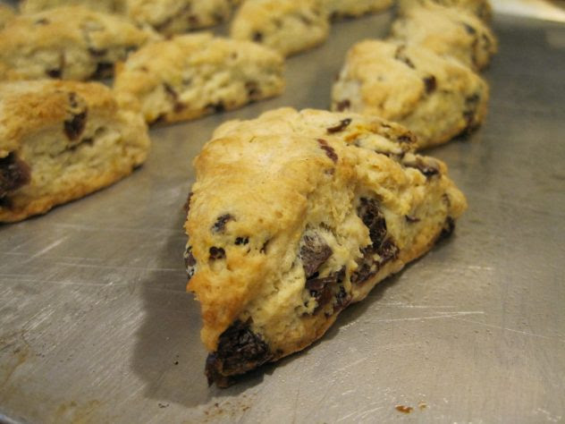 The scones are golden brown and fresh from the oven