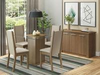 Mesa de Jantar 4 Cadeiras Quadrada Tampo de Vidro