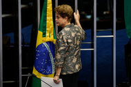 President Dilma Rousseff before testifying at the Senate on Monday during her impeachment trial in Brasília.