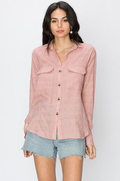 Woven button down long sleeve shirt