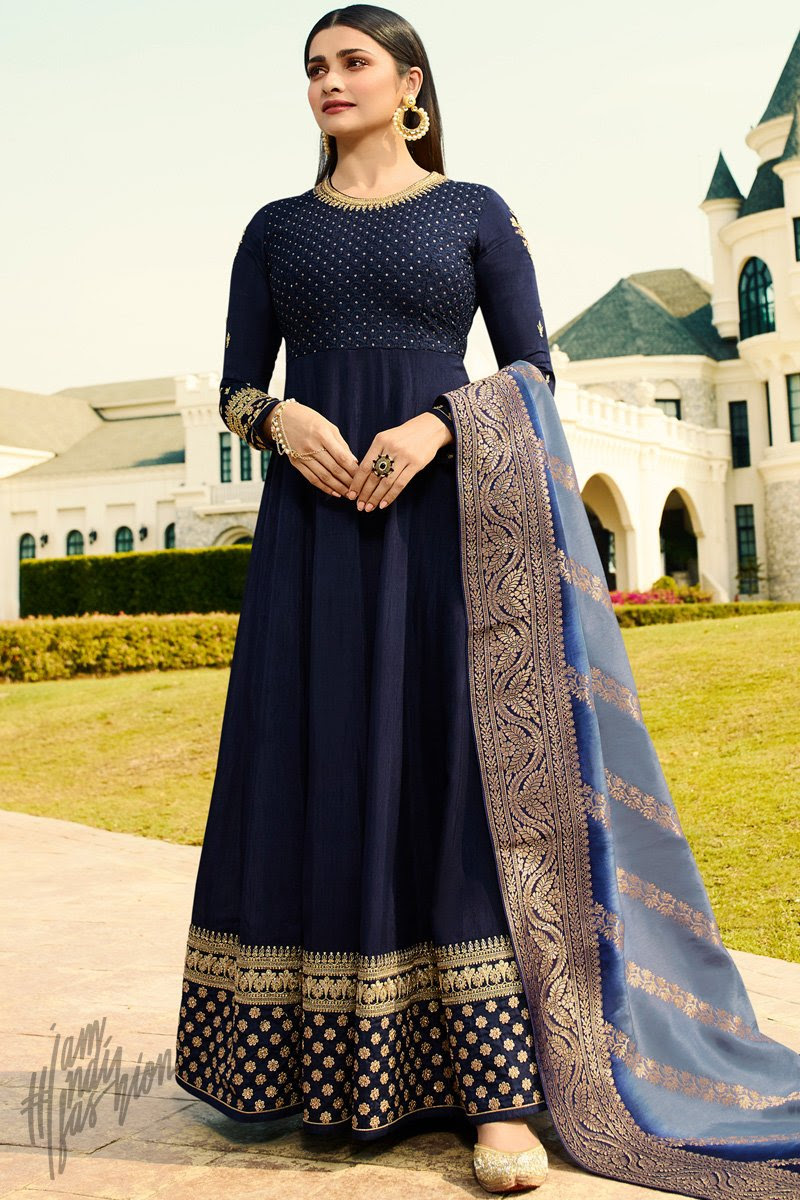 Denim and Light Blue Silk Anarkali Suit
