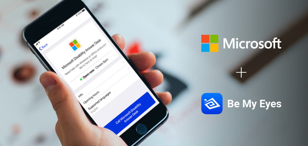 Handheld iPhone displays the Microsoft company page under Specialized Help