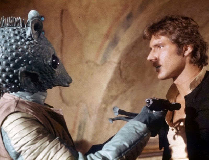 Harison Ford as Han Solo with Greedo