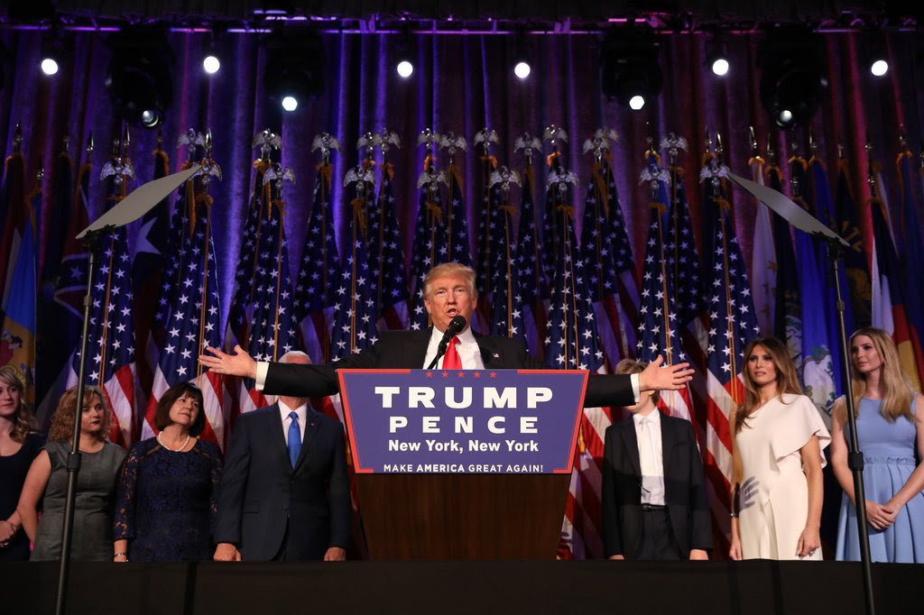 Donald J. Trump giving his victory speech in New York on Wednesday morning.