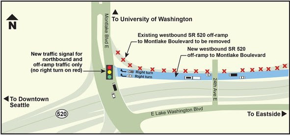 Configuration of intersection at new westbound SR 520 off-ramp to Montlake Boulevard