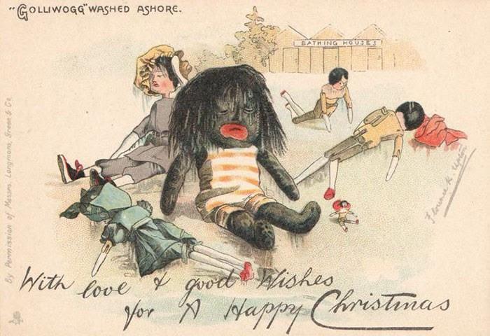 Tấm thiệp Giáng sinh này thể hiện cảnh búp bê Golliwogg - một nhân vật trong truyện dành cho trẻ em ở Anh thế kỷ 19 - dạt vào bờ biển sau khi bị đắm tàu.