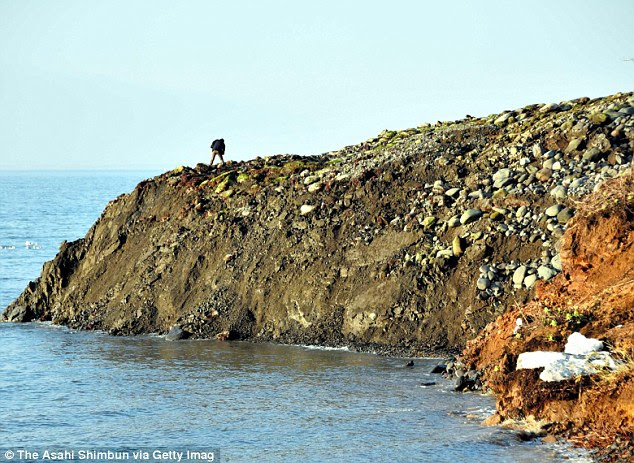 Surprise!  A man stands on a clump of land that emerged overnight along the coastline of Shiretoko Peninsula near Rausu, on Hokkaido Island, Japan