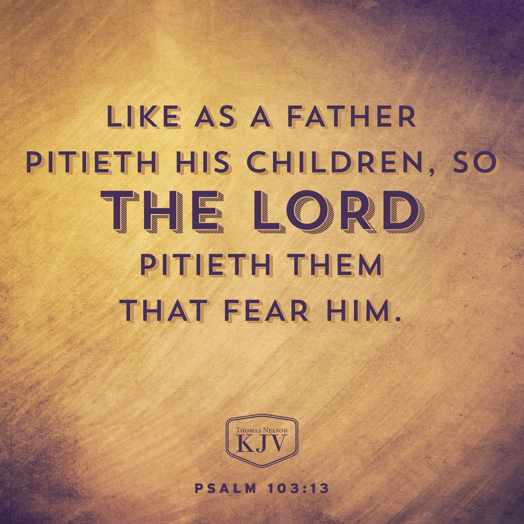 13 Like as a father pitieth his children, so the Lord pitieth them that fear him. Psalm 103:13