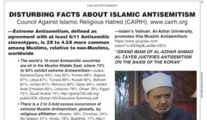 "Honest Information Ad in the Boston Herald: ""Disturbing Facts About Islamic Antisemitism"""
