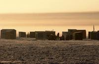 Ice shanties on the ice in Michigan
