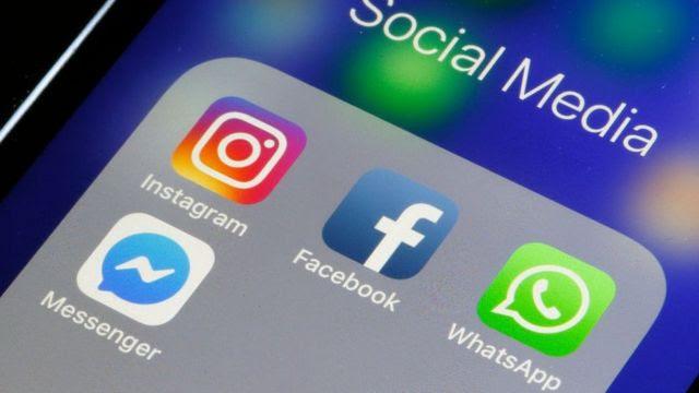 Aplicativos do Instagram, Facebook, WhatsApp e Messenger no celular