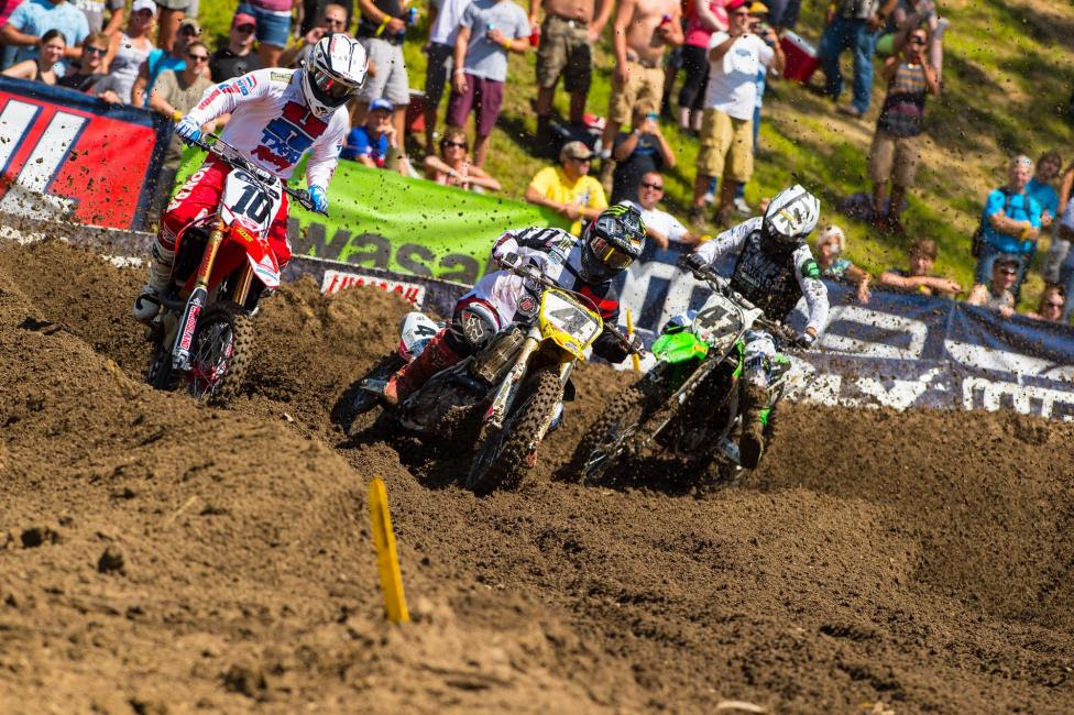 The Legends Race was the ideal precursor to the season finale, with past stars like Guy Cooper (10), Ricky Carmichael (4) and Jeff Emig (47).Photo: Simon Cudby