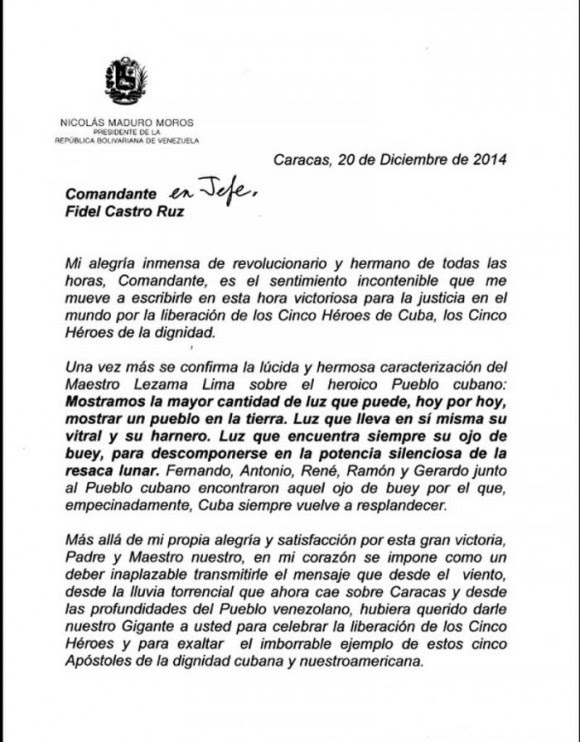 Cartas de Maduro a Fidel y Raúl1