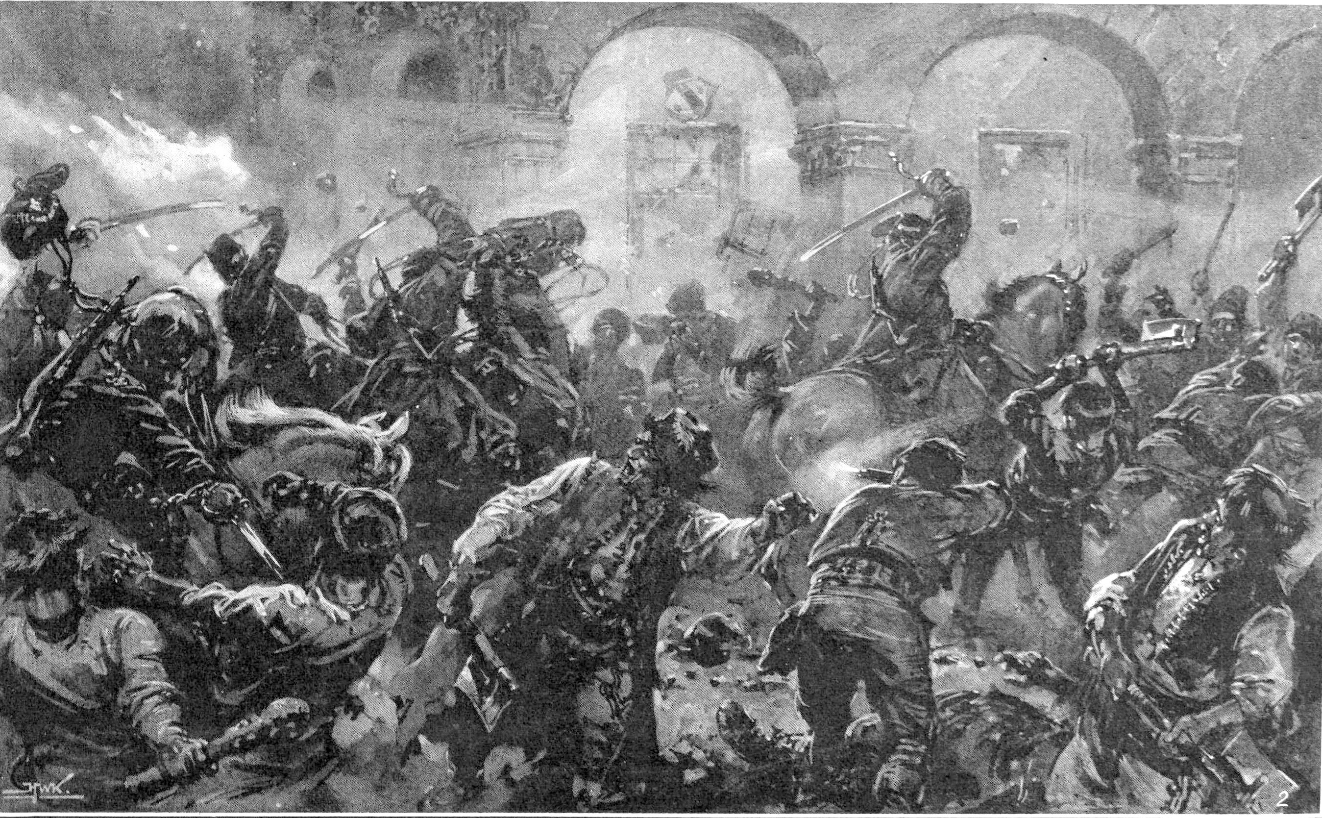 http://upload.wikimedia.org/wikipedia/commons/1/1c/A_cavalry_patrol_sabring_the_rioters_in_the_streets_of_Comanesti.jpg