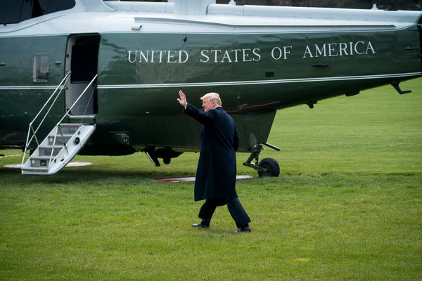 President Trump departed the White House on Thursday for a rally in Ohio and a weekend at his Mar-a-Lago estate in Florida.