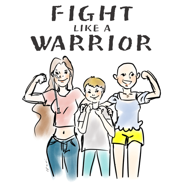 A comic-like drawing of three people holding up their fists. Text: Fight like a warrior