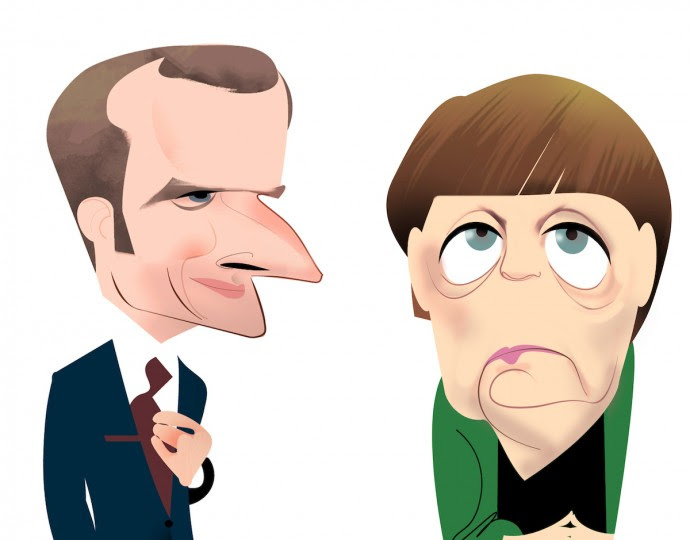 <p>Emmanuel Macron y Angela Merkel.</p> <p></p>