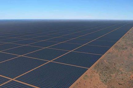 An artist's rendition of the Sun Cable solar farm