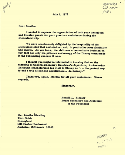 Letter_ Ronald L. Ziegler to Martha Blanding_ July 2_ 1973_ folder EX CO 158 Union of Soviet Socialist Republics 7_1_1973-7_31_1973_ box 74_ White House Central Files_ Subject Files_ CO _Countries_