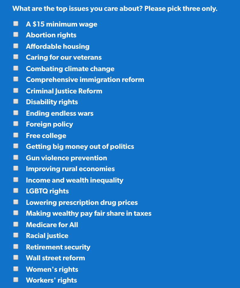 What are the top issues you care about? Please pick three only.