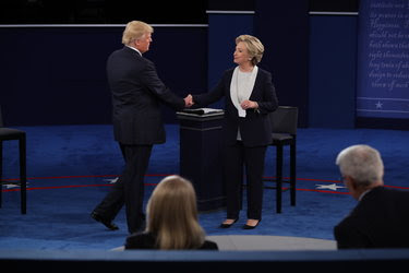 Hillary Clinton and Donald J. Trump shook hands after the presidential debate at Washington University in St. Louis on Oct. 9.