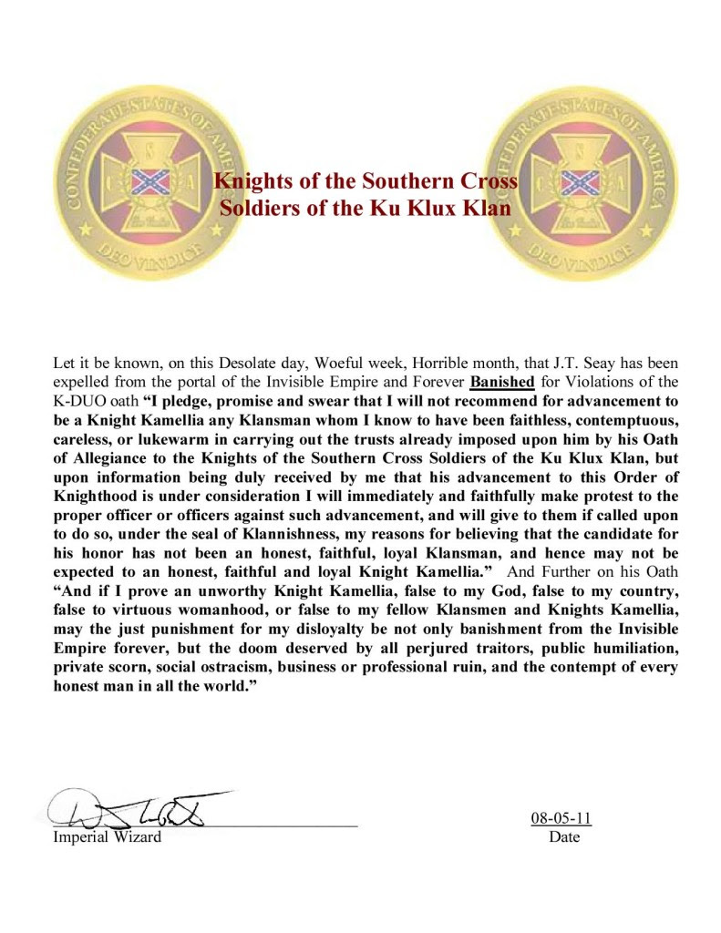 Loyal White Knights national Christian Minister James Seay document being expelled from a previous KKK group for having a girlfriend who he brought into the Klan who was bisexual and whose lover as black