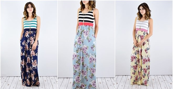 HOT!! Striped Floral Maxi Dres...