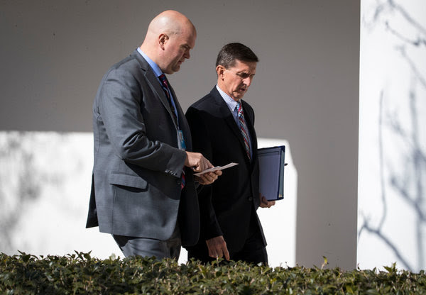 Michael T. Flynn, right, at the White House in February before resigning as President Trump's national security adviser.