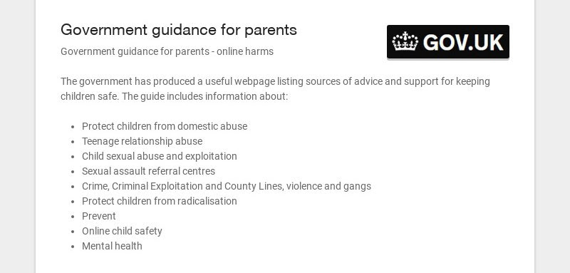 Government guidance for parents Government guidance for parents - online harms The government...