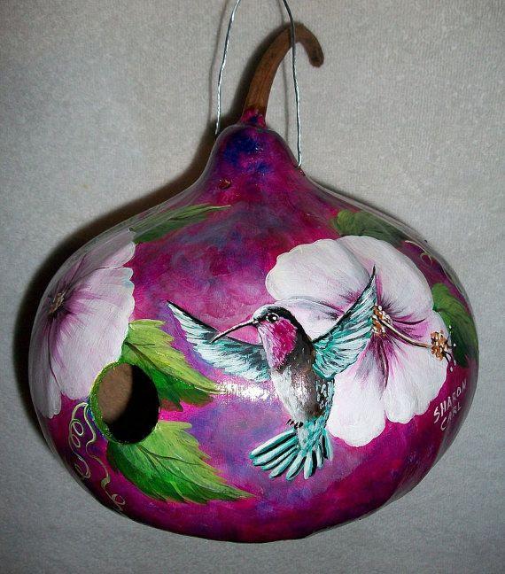 Gourd Birdhouse PurpleThroated Carib by SharonsCustomArtwork, $40.00