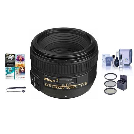 50mm f/1.4G AF-S NIKKOR Lens - USA. Warranty - Bundle with 58mm Filters & Pro Software