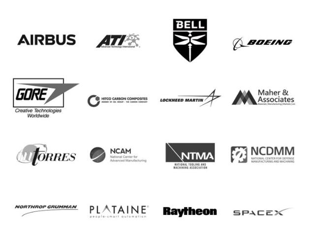 Airbus, ATI, Bell, Boeing, Gore, Hitco Carbon Composites, Lockheed Martin, Maher & Associates, MTorres, NCAM, NTMA, NCDMM, Northrop Grumman, Raytheon and SpaceX