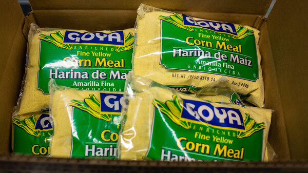Packages of Goya Foods Inc. Corn Meal sit in a box at the company's production facility in Secaucus, N.J., in 2018.