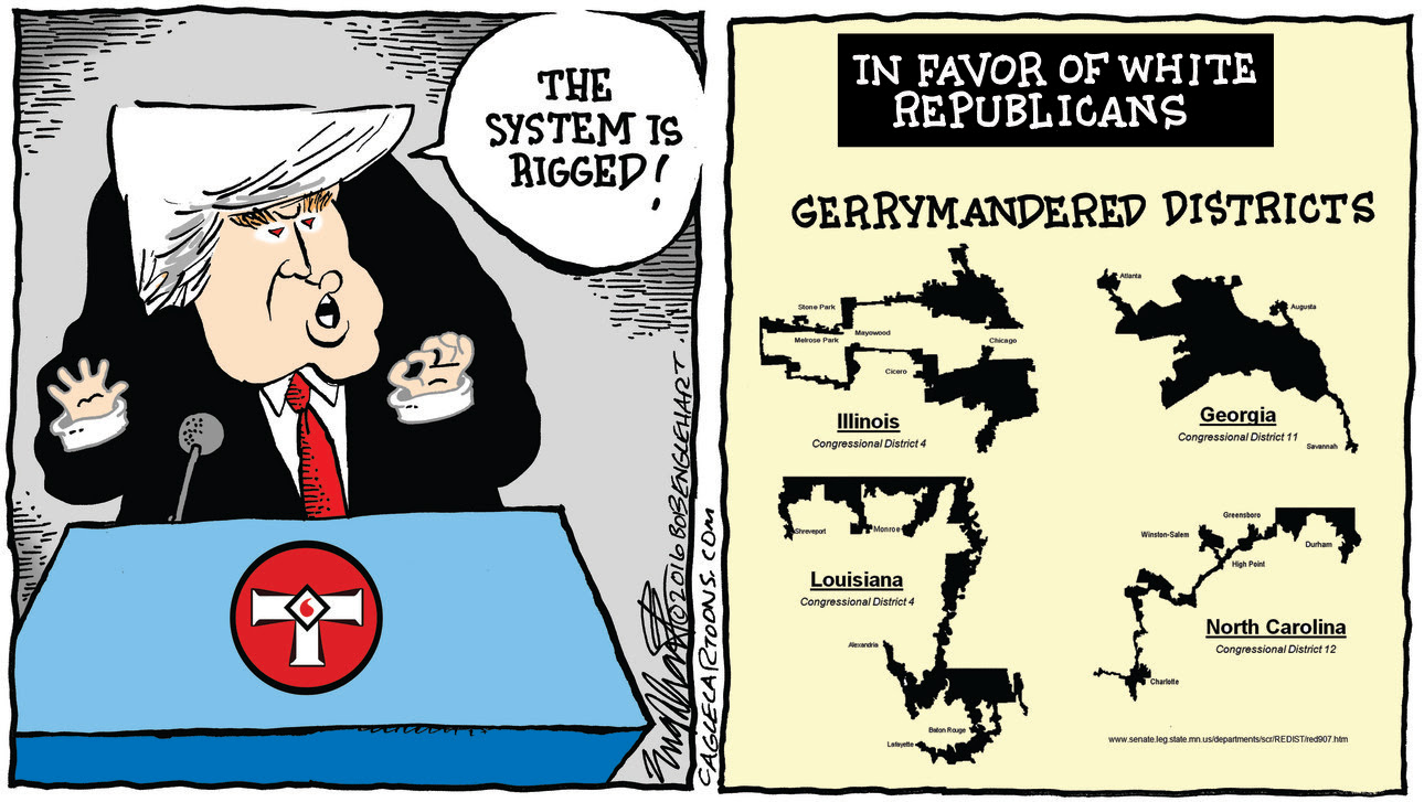 Gerrymandering is dark art of drawing districting boundaries to neutralize votes for your opponent. Republicans use it to get elected even when they are in the minority. Redistricting happens every ten years and districts will be redrawn this year.