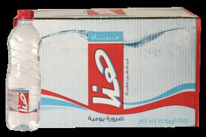 Salah satu contoh air minum botolan 600mL yang beredar di Arab Saudi.